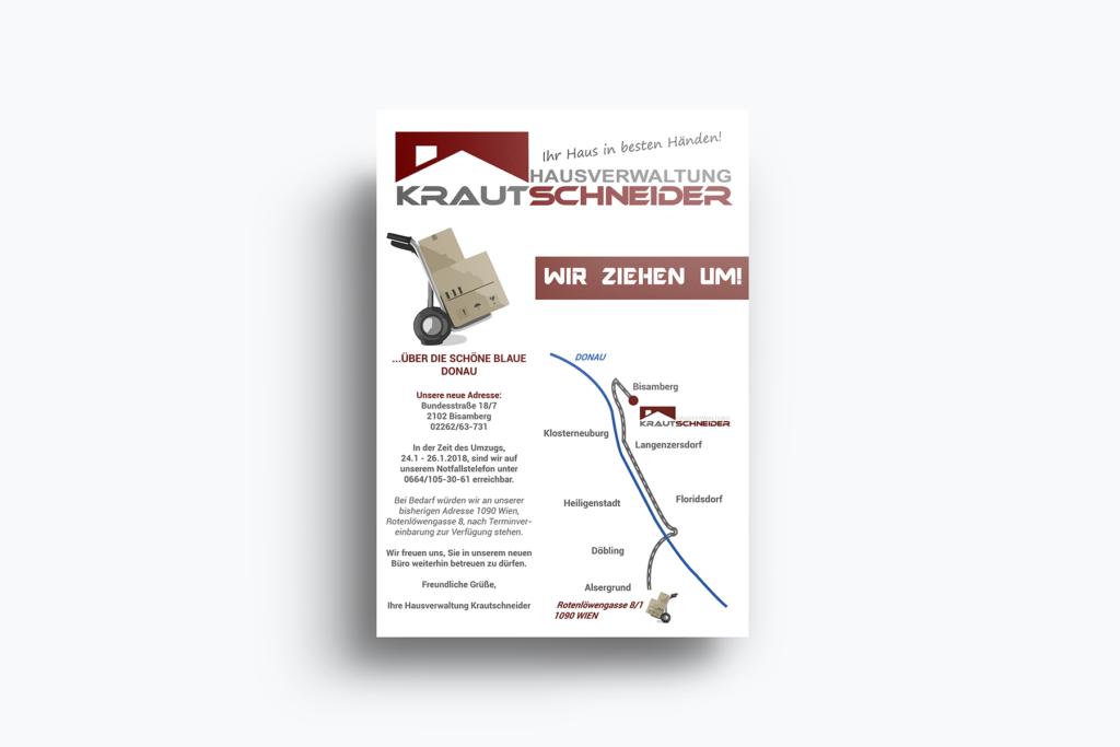 Hausverwaltung Krautschneider Gestaltung Umzugsflyer
